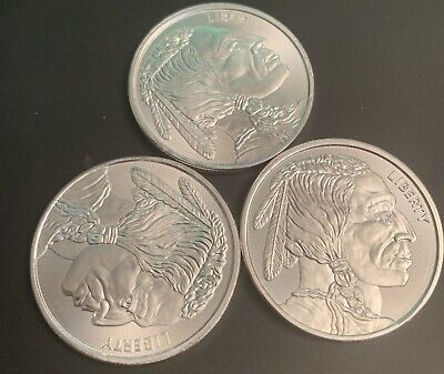 3 Total 1 oz Silver Buffalo Indian Round - 3 Ounces of Fine Silver n Coin Rounds