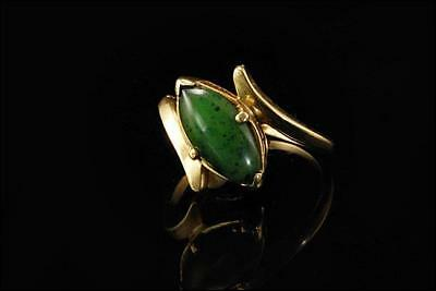 Antique Chinese Deep Green Cabochon Jade 14K Gold Ring A805-18