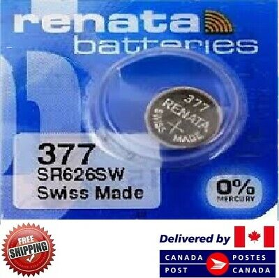 1 PC Renata 377 Watch Batteries 0% MERCURY SR626SW Swiss Made CDN SELLER