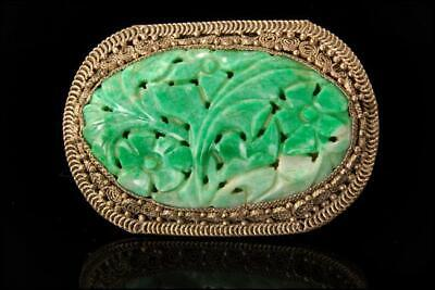 Large Old Chinese Carved Apple Green Jadeite Silver Flowers Dress Pin D107-01