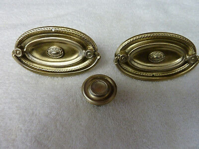 Vintage Aged Brass Color Furniture Pulls Drawer Pulls