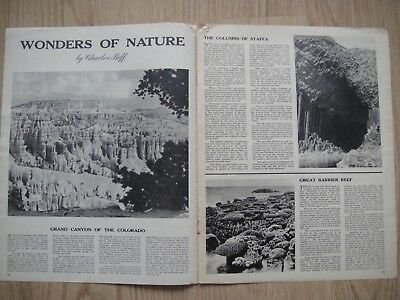 WONDERS OF NATURE - RARE MAGAZINE ARTICLE FROM THE 1950s - VICTORIA FALLS~GOBI++
