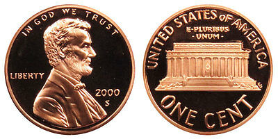 2000 S GEM BU PROOF Lincoln Memorial BRILLIANT UNCIRCULATED PENNY US COIN PF