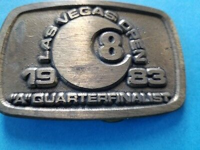 "Vintage 1983 Las Vegas 8 Ball Open ""A"" Quarterfinalist Belt Buckle Ltd Ed Brass"