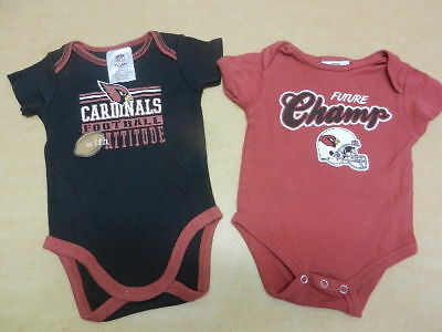 Lot of 2 Arizona Cardinals Boys Baby One Piece Creeper Outfits Size 3/6 Months