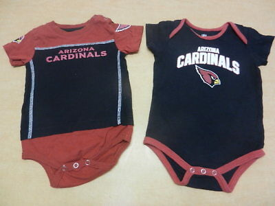 Lot of 2 Arizona Cardinals Boys Baby One Piece Creeper Outfits Size 18 Months