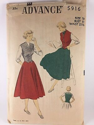 Vintage Sewing Pattern 1940s Skirt Womens Advance 5916 Weskit Size 13 Misses