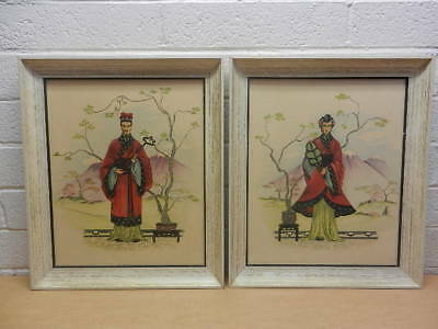 Pair of Vintage Mid Century Japanese / Asian Man and Woman Framed Prints