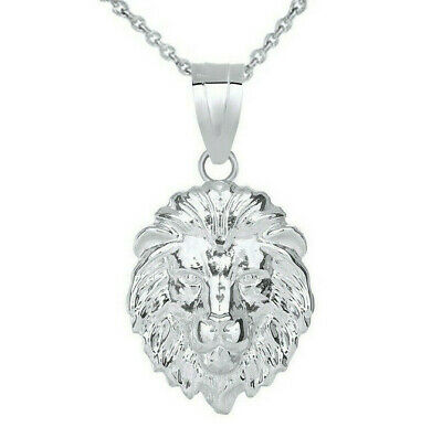 .925 Silver Lion's Face Head Animal Textured Detailed Medium Pendant Necklace