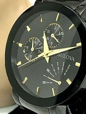 Bulova Classic Men's 98C124 Quartz Two Tone Stainless Steel Black Dial Watch