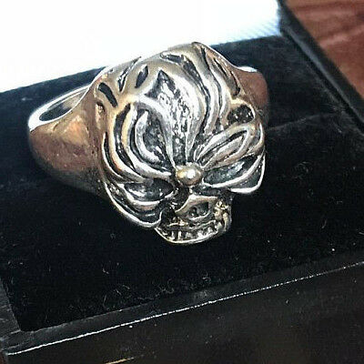 rare ancient Vintage silver ring solid Skull HEAD SYMBOL VERY Stunning