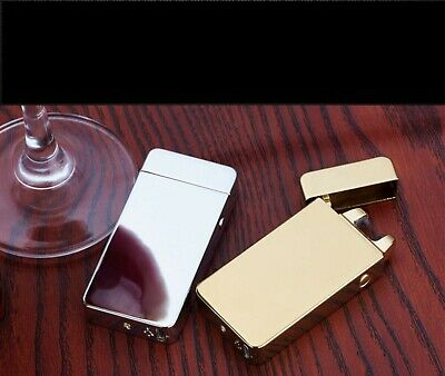 Electric Arc Plasma USB Recharge Flameless Windproof Cigarette Lighter Silver