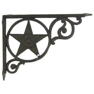 Antique Style BLACK Star Shelf Brackets Cast Iron Wall Brace Metal. SET OF 2