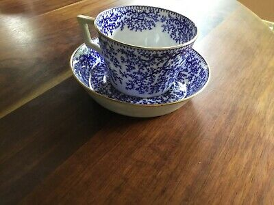 Antique Minton Fibre Blue Seaweed Cup and Saucer