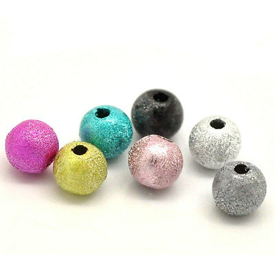 500 Mixed Colors Acrylic Stardust Round Beads 6mm bac0059