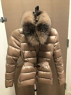 NEW MONCLER TATIE Fox Fur Taupe Hooded Down Coat Jacket NWT
