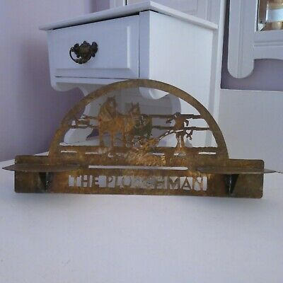 "Antique arts & crafts brass wall shelf/plaque ""the ploughman"""