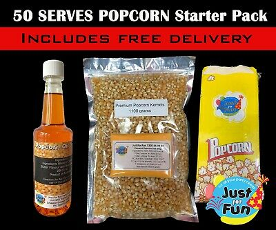 50 Serves Popcorn Starter Pack! Makes 50 bags of Cinema Popcorn, Popcorn Salt