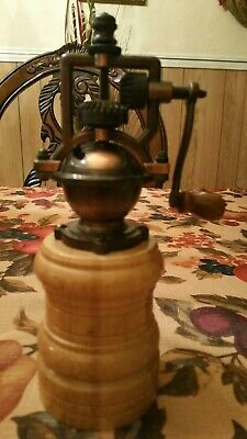 Vintage Hand Crank Spice Mill Coffee Grinder - Cast Iron and Wood