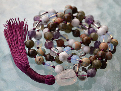 Seventh Chakra Rosary, Crown Chakra Mala, Hand knotted 108 Beads Necklace Cosmic