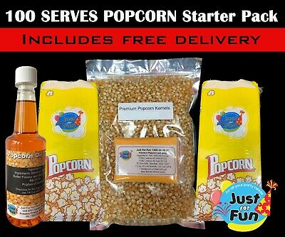 100 Serves Popcorn Starter Pack! Makes 100 bags of Cinema Popcorn, Popcorn Salt