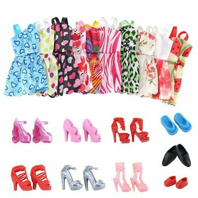 80x FOR Princess Gift BAR-BIE DOLL DRESSES SHOES Jewelry CLOTHES SET Fittings AU