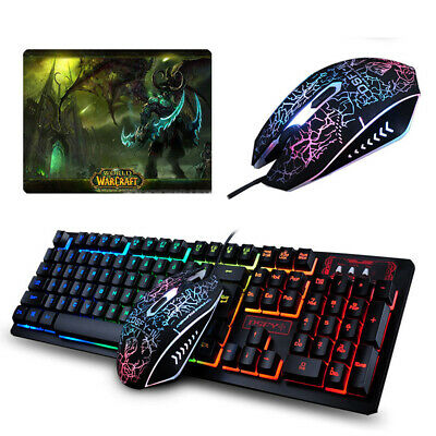 Wired Gaming Keyboard +Mouse Set LED Illuminated Rainbow PS4 XBOX PC +Gift Pads