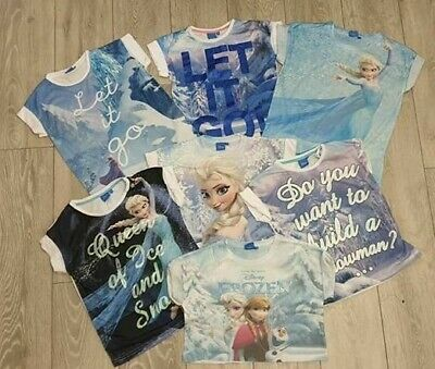 PRIMARK Girls DISNEY FROZEN QUEEN ELSA Let It Go T Shirt Tee Top UK 7 - 13 YRS