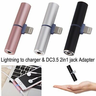 Dual Lightning Connector to 3.5mm Audio Headphone Jack Adapter for IOS iPhone 8