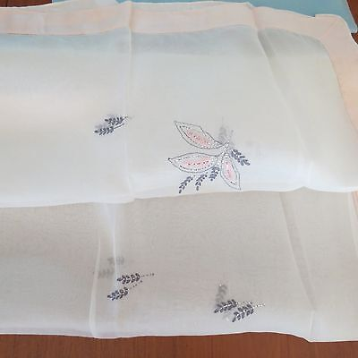 New NIP Vtg 1950s Organza Embroidered Tablecloth with Silver Metallic & Napkins