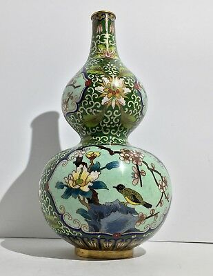 Antique Chinese Early 20th C. Enamel Cloisonné Double Gourd Vase