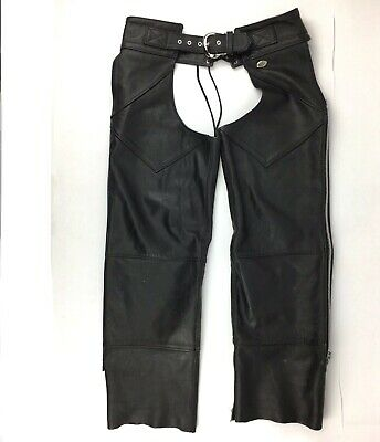 Harley Davidson Leather Chaps Size Medium Black Made In USA