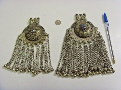 1800s antique huge kuchi tribal triplet fertility minarets 2 bra pendants 48002