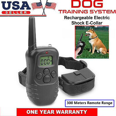 Pet Dog Trainer Training Shock Collar w/ Remote Control Vibrate Dog Bark Collar