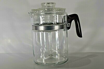 Vintage Pyrex Flameware Glass Stove top 6 Cup Percolator Coffee Pot 7826B
