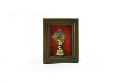 GOLD Buddha Sheltered by Naga Hood 3D PICTURE FRAME BOX TEAK WOOD WALL HANGING