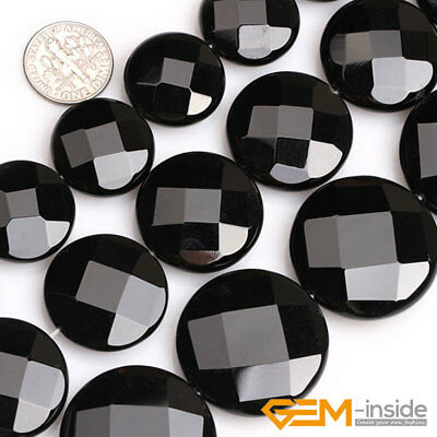 """Natural Coin Faceted Black Agate Gemstone Onyx  Beads For Jewelry Making 15"""""""