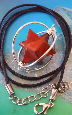 Spinning Red Jasper Sacred Geometry Merkaba Star Cage Pendant, With Chain