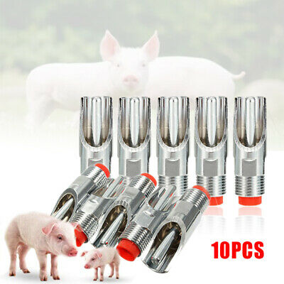 "10Pcs Stainless Steel 1/2"" PT Thread Pig Automatic Nipple Drinker Waterer Pack"