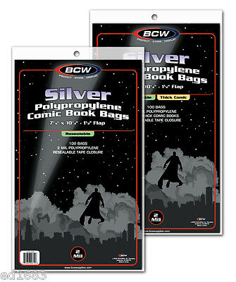 100 BCW Silver Resealable Comic Book Bags size: Thick 7 1/4x 10 1/2 - Acid Free