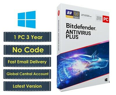 Bitdefender Antivirus Plus 2020 - 1 PC 3 Year (Central Account - eDelivery)