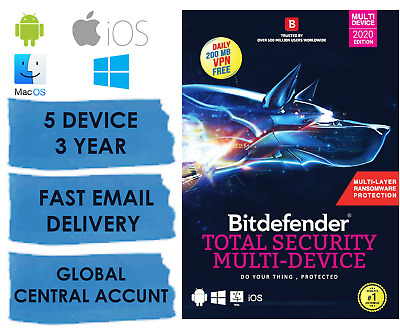 Bitdefender Internet Security 2020 - 5 PC 3 Year (Central Account - eDelivery)