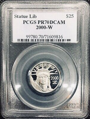 2000-W $25 Platinum Eagle PR70 DCAM PCGS Statue of Liberty 1/4 oz .9995