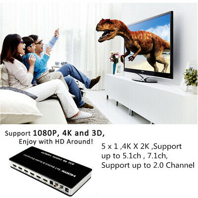 5X1 Port 4K 3D HDMI Audio Switch Selector Splitter Extractor 5.1CH 7.1CH 1080P