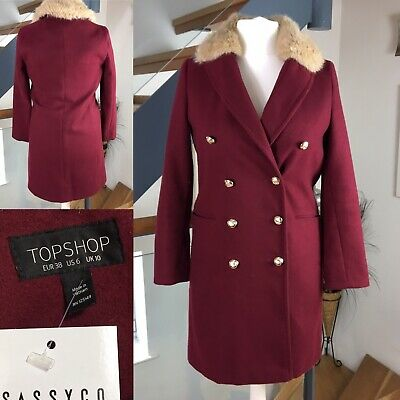 673d5ca177cd Topshop Ladies Red Double Breasted Winter Coat Faux Fur Collar Size 10 38