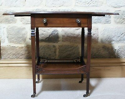 Antique Table 19th C Inlaid Rosewood Drop Leaf Victorian Occasional