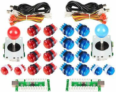 Red/Blue Arcade DIY Kit Parts USB Controller +LED Light Illuminated Push Buttons