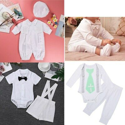 Newborn Infant Baby Boys Baptism Outfits Romper Christening Birthday Formal Suit
