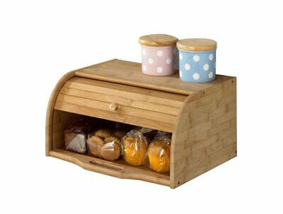 Betwoo Natural Wooden Roll Top Bread Box Kitchen Food Storage (Standard Size