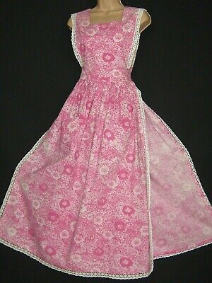 Laura Ashley Vintage Pink Daisy Meadow Edwardian Style Tabard /Pinafore, S/M